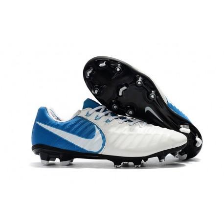 Nike Crampon de Foot Tiempo Legend 7 FG ACC Blanc Bleu