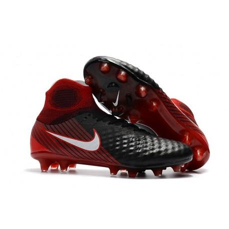 Nike Magista Obra 2 FG 2017 Crampon de Football Noir Blanc Hyper Crimson Clair Crimson