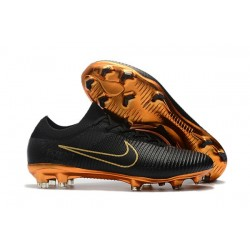 Chaussures de Foot Nike - Nike Mercurial Vapor Flyknit Ultra FG Or Noir