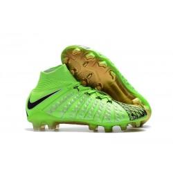 Crampons de Football Nike Hypervenom Phantom III DF EA FG - pour Hommes Vert Noir Or