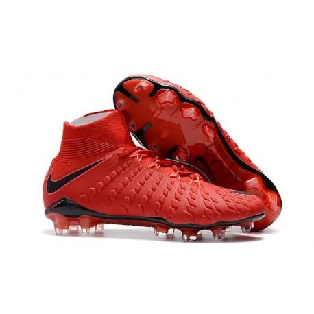 Crampons de Football Nike Hypervenom Phantom III DF FG - pour Hommes Rouge Noir