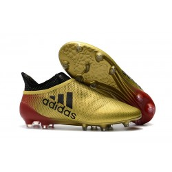 Crampons de Foot adidas X 17+ Purespeed FG Noir Or Rouge