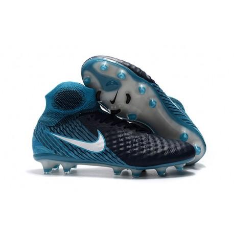 Nouvelles Nike Magista Obra 2 FG Crampons de Football Blanc Bleu Noir