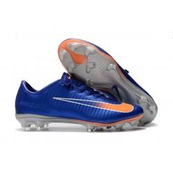 Chaussures de Football Nike Mercurial Vapor XI FG pour Hommes Bleu Orange Argent