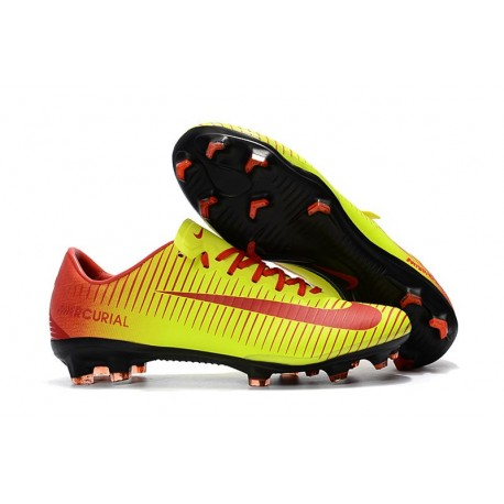 Chaussures de Football Nike Mercurial Vapor XI FG pour Hommes Rouge Jaune