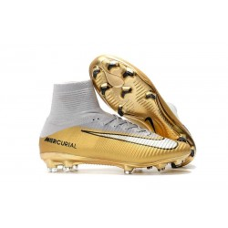 new concept d3403 310bf Nike Mercurial Superfly V FG ACC Chaussure de Football Quinto Triunfo Or  Blanc