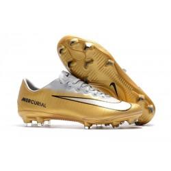 Chaussures de Football Nike Mercurial Vapor XI FG pour Hommes Or Blanc