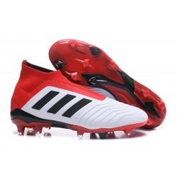 Nouveau Chaussures de Foot Adidas Predator 18+ FG Blanc Noir Rouge