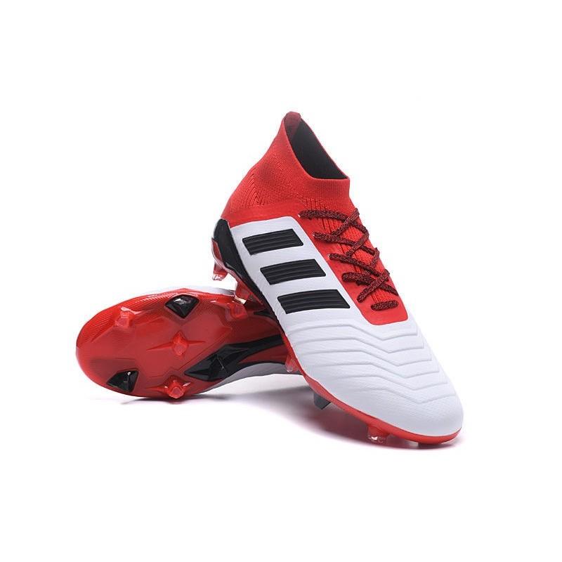 crampons foot 2018 adidas predator 181 fg blanc noir rouge