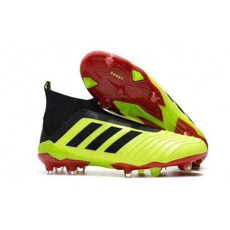Nouveau Chaussures de Foot Adidas Predator 18+ FG Volt Noir Rouge