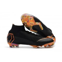 Crampons de football Nike Mercurial Superfly VI 360 Elite FG Noir Orange Total Blanc