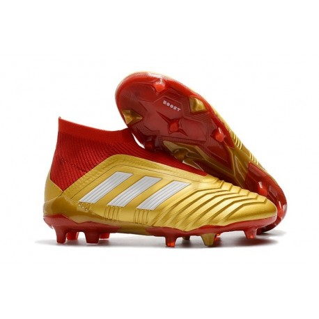 Nouveau Chaussures de Foot Adidas Predator 18+ FG Or Rouge Blanc