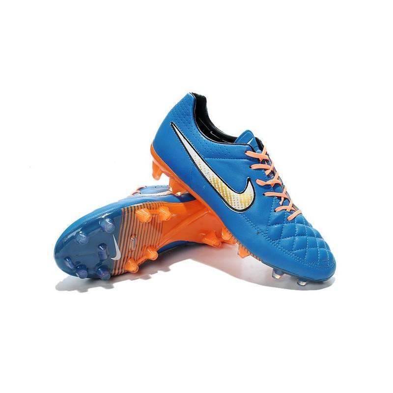 Chaussure de Football Nike Tiempo Legend V FG Terrain Sec Homme Bleu Blanc Orange