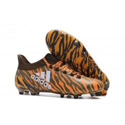 Crampons de Football - Adidas X 17.1 FG pour Hommes Orange Vif Olive