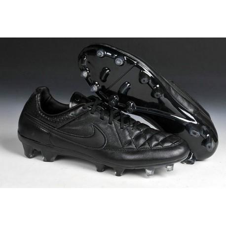 Chaussure de Football Nike Tiempo Legend V FG Terrain Sec Homme Tout Noir