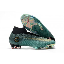 Crampons de football Nike Mercurial Superfly VI Club Ronaldo FG Jade Or Vif Noir