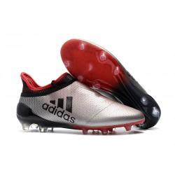 Crampons de Foot adidas X 17+ Purespeed FG Argenté Rouge Noir