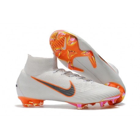 best website 7ef9a 5b6b5 Crampons de football Nike Mercurial Superfly VI 360 Elite FG Blanc Gris  Métallique Orange Total