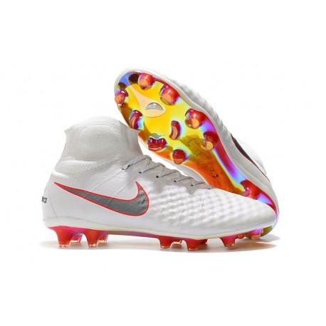 Nouvelles Nike Magista Obra 2 FG Crampons de Football Blanc Gris Métallique Carmin