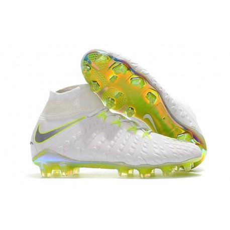 Crampons de Football Nike Hypervenom Phantom III DF Elite FG - pour Hommes Blanc Gris Métallique Volt