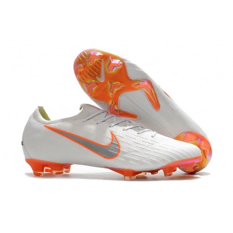 Nike Mercurial Vapor XII Elite FG Chaussures de Football Hommes Blanc Gris Métallique Orange Total