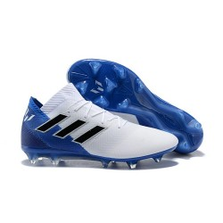 Neuf Chaussures de Football - Adidas Nemeziz Messi 18.1 FG Blanc Bleu