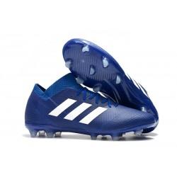 Neuf Chaussures de Football - Adidas Nemeziz Messi 18.1 FG Bleu Blanc