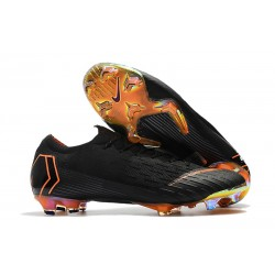 Nike Mercurial Vapor XII Elite FG - Chaussures de Football Hommes Noir Orange Total Blanc