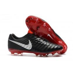 Nike Tiempo Legend 7 FG - Nouveau Chaussures Football Noir Rouge Argent