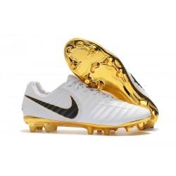 Nike Tiempo Legend 7 FG - Nouveau Chaussures Football Blanc Or Noir