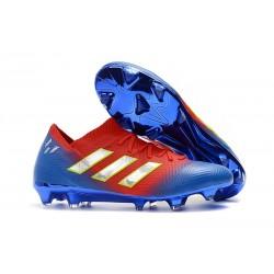 Neuf Chaussures de Football - Adidas Nemeziz Messi 18.1 FG Rouge Bleu Argent