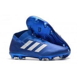 Nouvelles Crampons de Foot adidas Nemeziz 18+ FG - Bleu Blanc