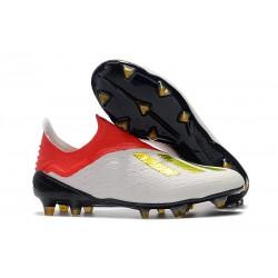 Nouveau Crampons De Foot adidas X 18+ FG Or Blanc Rouge